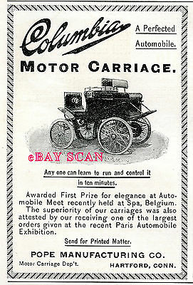 Columbia Motor Carriage automobile car in rare very early orig. antique 1898 ad