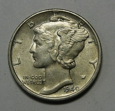 1940 Mercury Head Silver Dime Grading in the AU Range Nice Original Coins