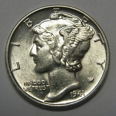 1941 Mercury Head Silver Dime Grading in the AU Range Nice Original Coins