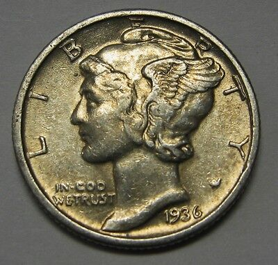 1936 Mercury Head Silver Dime Grading in the XF/AU Range Nice Original Coins