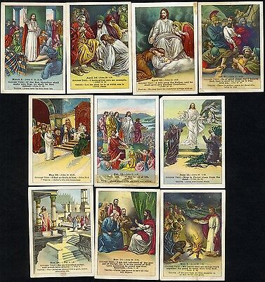 10 BIBLE STORY Cards 1880 New Testament JESUS CHRIST Verses LESSON Pictures