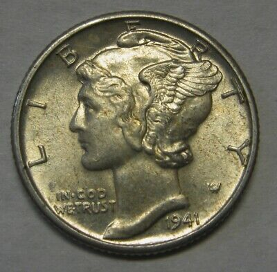 1941-D Mercury Head Silver Dime Grading Choice Uncirculated Nice Original Coins