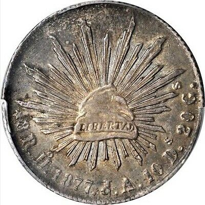 MEXICO HERMOSILLO MINT 1877-HoJA  8 REALES COIN ALMOST UNCIRCULATED PCGS AU55