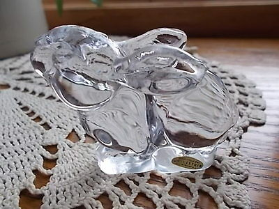 Vintage Collectible SILVESTRI Crystal Bunny Rabbit Paperweight Figurine w/LABEL!