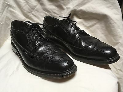 mens VINTAGE DEXTER BLACK LEATHER WINGTIP SHOES size 12 D EXCELLENT  !