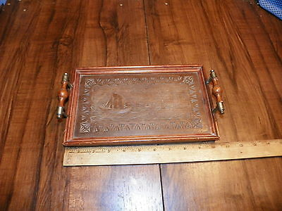 "Vintage Carved Wood Tray 10"" x 6.5"""