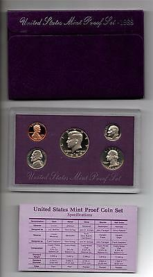 1988 S United States Mint Proof Set in Original US Government Packaging with COA