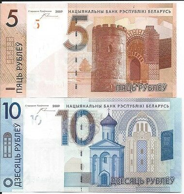 Belarus 5 and 10 Rubles 2009 (2016)  Uncirculated Notes