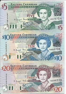 East Caribbean States 5, 10 & 20 Dollars, Uncirculated  Banknotes
