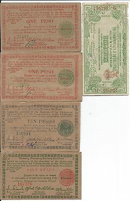 Philippines 5 different WWII Banknotes