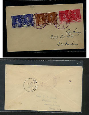 Tristan  da Cunha  cancel  ,  St Christopher stamps 1937 to St Kitts     KEL0703