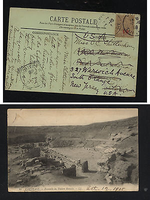 Tunisia   #58 revalued stamp on post card to US        KL1206