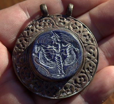Huge Handmade Very Old Stunning Carved Lapis Lazuli Stone Ornate Bronze Pendant