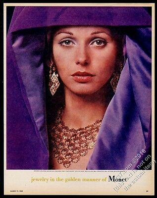 1968 Monet jewelry gold Pavianne necklace earrings photo vintage print ad