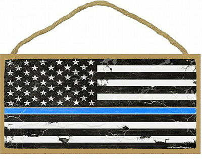 THIN BLUE LINE US FLAG subdued 5X10 Wood Sign Blackwater Artwork police