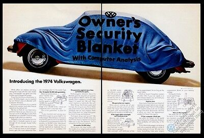 1974 VW Volkswagen Beetle classic red car security blanket vintage print ad