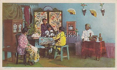 1913 Singer Sewing Machine Victorian Trade Card #127-3 Illustration From Java