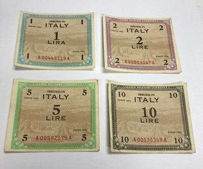 ITALY ALLIED MILITARY CURRENCY 1,2,5,10 LIRE 1943 Notes