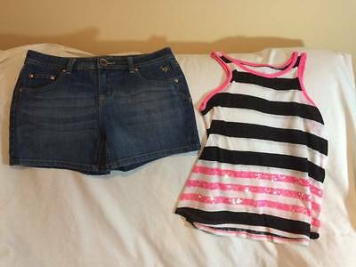 Justice Girls 16 Striped Tank Top / Denim Shorts Outfit - Great For Summer