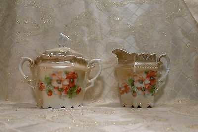 Germany Porcelain Vintage Creamer And Sugar Bowl With Lid Pretty Iridescent