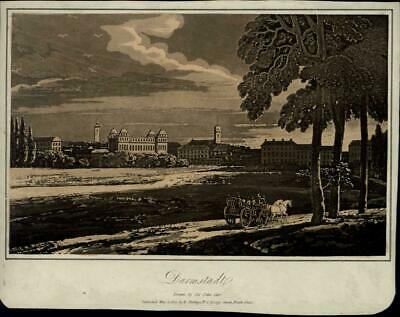 Darmstadt Horse Carriage Park panorama 1807 scarce antique Germany view print