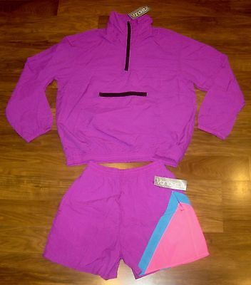 NEW Vtg 80s Vanderbilt Neon Women's MEDIUM windbreaker TRACK SUIT Jacket Shorts
