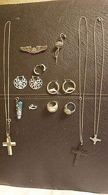 Nice Lot Of 18 Pcs Vintage Sterling Silver Jewelry Not Scraps