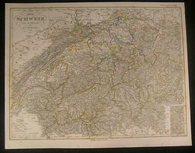 Switzerland Alps Lake Geneva Maggiore Lake 1856 antique engraved color map