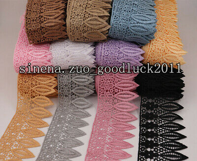 1 Yard, Crochet Embroidered Lace Edge Trim Wedding Sewing Applique Ribbon FL12