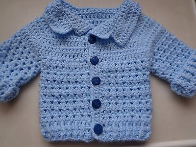 baby cardigan Blue Aran hand crochet knitted jacket 6-9 months smiley buttons