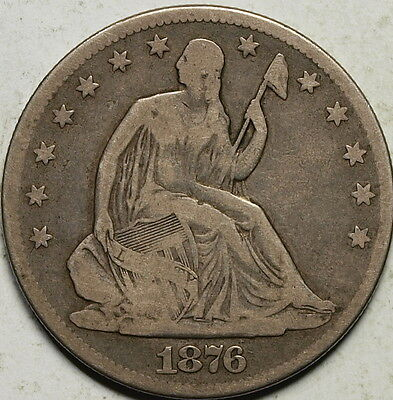 1876  US Silver Seated Liberty Half Dollar, VG+ !