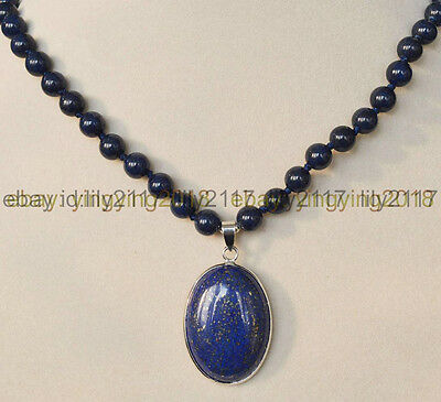 "Natural Blue Egyptian Lapis Lazuli Gemstone Beads Oval Pendant Necklace 18"" AAA"