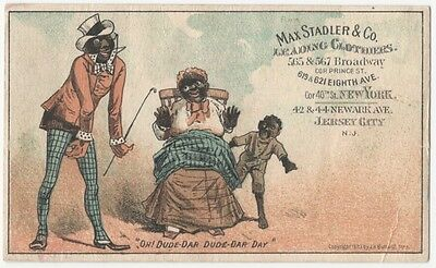 Max Stadler Clothiers Black Americana -A Victorian Trade Card -Jersey City N.J.