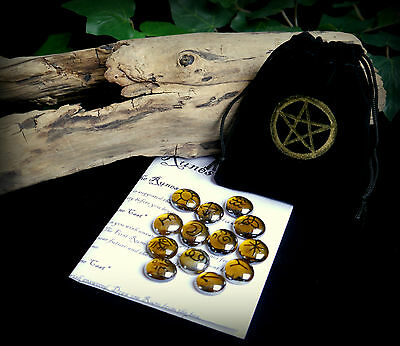13 Witches Runes with Pentacle Bag Witch Wicca pagan Divination Gift