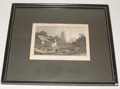 Antique Victorian Framed Coloured Engraving of Tretower Castle Powys Wales