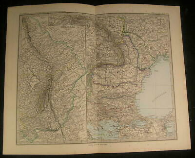 South Ural Mountains Dardanelles Bulgaria Thrace 1894 antique engraved color map