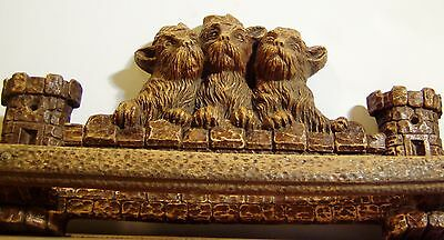 Vtg Scottie Dog Tie Rack-3 Scotties With Hats-Castle-Orna Wood-Syroco-'40's-G/vg