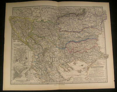 Balkan Peninsula Thracia Macedonia Bosporus 1890 antique engraved color map