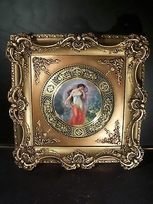 Framed Antique Royal Vienna Porcelain Plate Signed Wagner