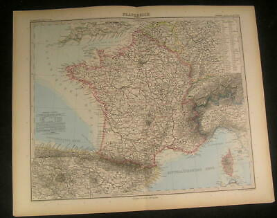 France Gascoigne Normandy Brittany Champagne 1889 antique engraved color map
