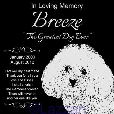 Personalized Bichon Frise Dog Pet Memorial 12x12 Granite Grave Marker Headstone