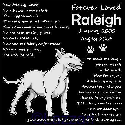 Personalized Bull Terrier Dog Pet Memorial 12x12 Granite Grave Marker Headstone