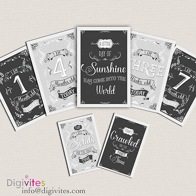 Baby Milestone Cards, Baby Moments and Milestones, Vintage, Announcements, Greys