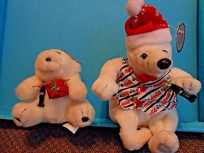 Lot 2 COCA COLA PLUSH POLAR BEAR Christmas 1996 Ornament w/ Bottle Coke Bean Bag