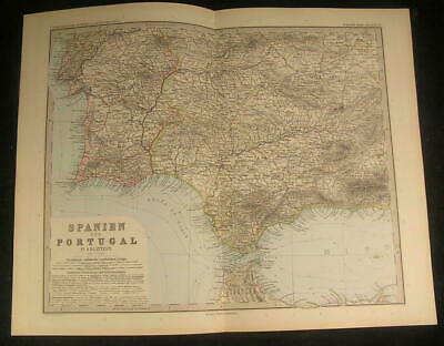South Spain Portugal Gibraltar British Colony 1897 antique engraved color map