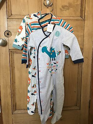 BNWT Next Baby Boys 3 Pack Dinosaur Sleepsuits 12-18 Months