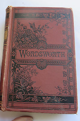 Antique Rare Book, the Poetical Works of William Wordsworth, inscribed 1883, red