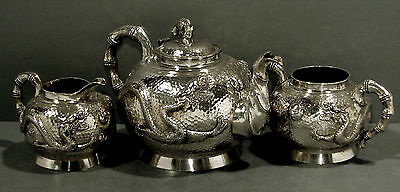 Chinese Export Silver Tea Set     DRAGON                    WEIGHS  51 OZ