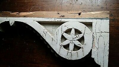 "Antique Pair Wood Corbels -  Shabby Vintage Cottage Porch  26"" x 10"" x 2 3/4"""