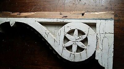 "Large Antique Pair Wood Corbels Shabby Cottage Chic Vintage 26"" x 10"" x 2 3/4"